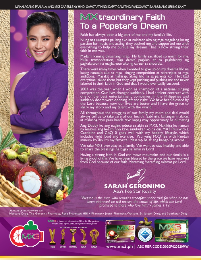 Sarah Geronimo for MX3 Plus Capsule
